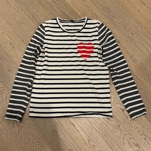 New navy/gray/off white stripe graphic long sleeve
